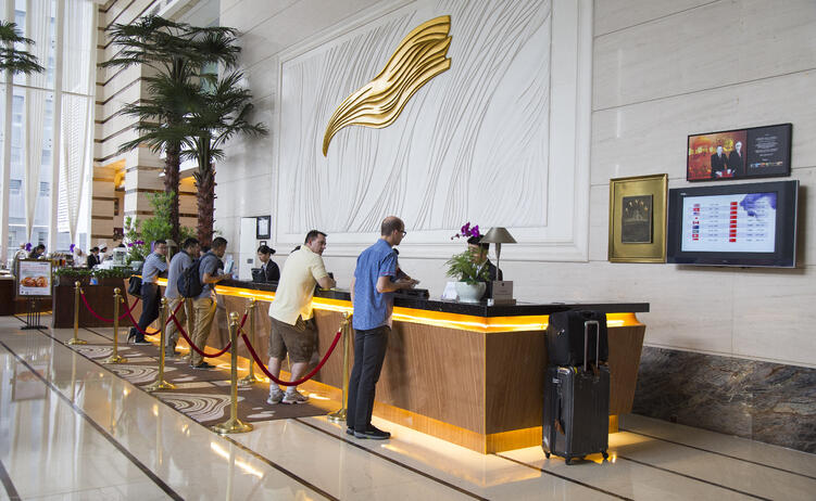 Busy hotel reception